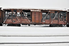 Charred train. Royalty Free Stock Images
