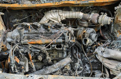 Burnt car wreck in accident Stock Image