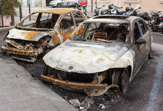 Burnt cars Royalty Free Stock Image