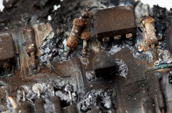 Burnt circuit board Stock Photo