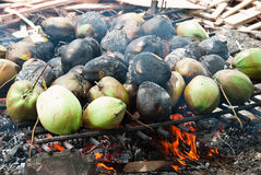 Burnt coconuts Stock Photo