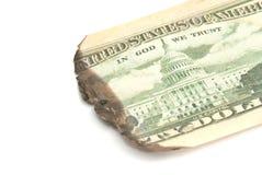 Burnt dollar banknote Royalty Free Stock Image