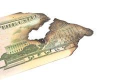 Burnt dollar banknotes Royalty Free Stock Photo