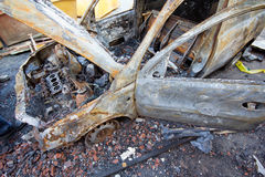 Burnt down car Royalty Free Stock Photography