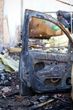 Burnt down car Royalty Free Stock Images