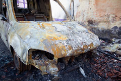 Burnt down car Royalty Free Stock Photos