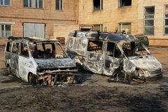 Burnt down cars Stock Images