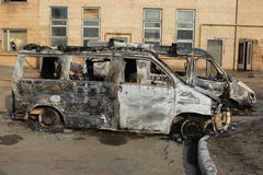 Burnt down cars Royalty Free Stock Photos