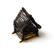 Burnt Down House From Matches Stock Images