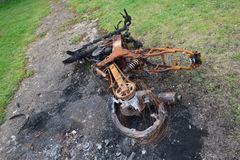 Burnt down motorbike Royalty Free Stock Photos
