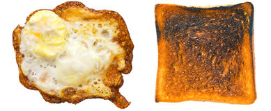 Burnt egg and toast Stock Photography