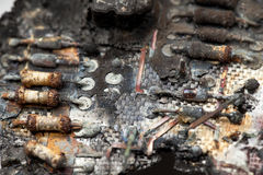 Burnt electronic circuit board Stock Photography