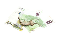 Burnt euro banknotes Stock Image