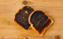 Burnt grzanka chleba plasterki Zdjęcia Royalty Free