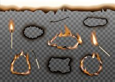 Free Burnt Holes Edge With Matches Set Of Realistic Vector Illustration . Royalty Free Stock Photography - 165943887