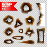 Burnt holes scorched paper vector isolated set on transparent background. Burnt holes and scorched burned paper isolated on transparent background. Vector Royalty Free Stock Photography