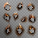 Burnt holes. Scorched paper hole, burned brown edge with flame. Fire in cracked dirty hole, realistic vector set royalty free illustration