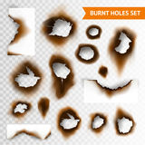 Burnt Holes Set. Set of scorched piece of paper and burnt holes on transparent background  vector illustration Royalty Free Stock Image