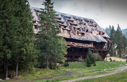 Burnt hotel Junior, Slovakia. JASNA, SLOVAKIA - OCTOBER 6: Burnt hotel Junior Jasna in Low Tatras mountains on October 6, 2015 in Jasna Royalty Free Stock Photo