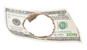 Burnt hundred dollar bill Stock Image