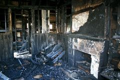 Burnt interior. The interior view of remains of a house fire Stock Photo