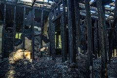Burnt interiors of house after fire. Stock Photography