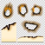 Burnt kawałek palił zatarty papierowy realistyczny pożarniczy płomień odizolowywającego dziury strony popiółu prześcieradło drzej ilustracji