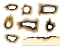 Burnt kawałek palił zatarty papierowy realistyczny pożarniczy płomień odizolowywającego dziury strony popiółu prześcieradło drzej ilustracja wektor