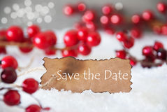 Burnt Label, Snow, Bokeh, English Text Save The Date Royalty Free Stock Images