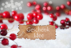 Burnt Label, Snow, Bokeh, Text Geschenk Idee Means Gift Idea Royalty Free Stock Images