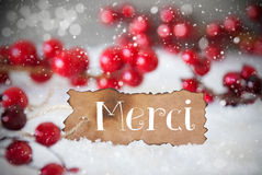 Burnt Label, Snow, Snowflakes, Merci Means Thank You Stock Photography
