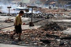 Burnt market Stock Image