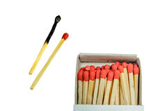 Burnt match and red match and open Box of Matches  isolated on a white background Stock Image