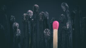 Free Burnt Matches And Match Still Intact Stock Photo - 184504400
