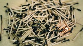 Burnt matches stack on wood stock video