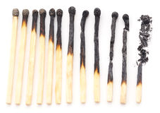 Burnt matches. Stock Photos