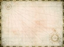 Vintage burnt blank treasure map background stock illustration