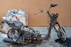 Burnt motocykl Zdjęcia Royalty Free