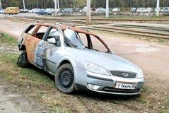 Burnt motorowy samochód Zdjęcie Stock