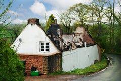 Burnt old farmhouse. Royalty Free Stock Photos