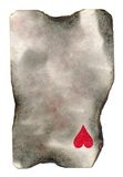 Burnt old playing card paper with one heart symbol background Stock Photography
