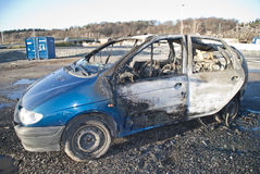 Burnt out car. Halden fire departments have been training on an old car.There was not much left of the car, but they did put out the fire quickly and efficiently Stock Photos