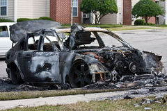 Burnt out car. Close up of wreck of burned out car Royalty Free Stock Photos