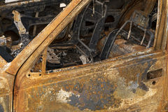 Burnt out car interior Royalty Free Stock Image