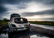 Burnt out car Stock Image
