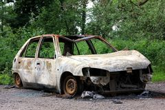 Burnt out car Royalty Free Stock Images