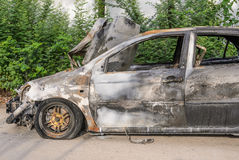 Burnt out car wreck Royalty Free Stock Photos
