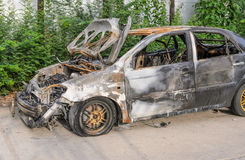 Burnt out car wreck Royalty Free Stock Images