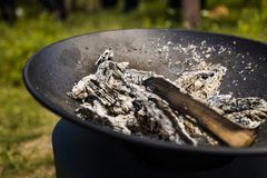 Fire bowl with burnt out fire royalty free stock photo