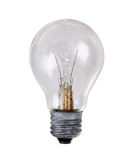 Burnt out lightbulb isolation on white Royalty Free Stock Images